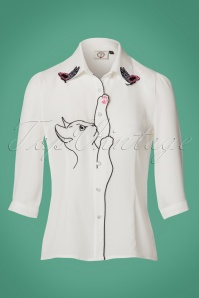 60s Snow Bird Blouse in Ivory White