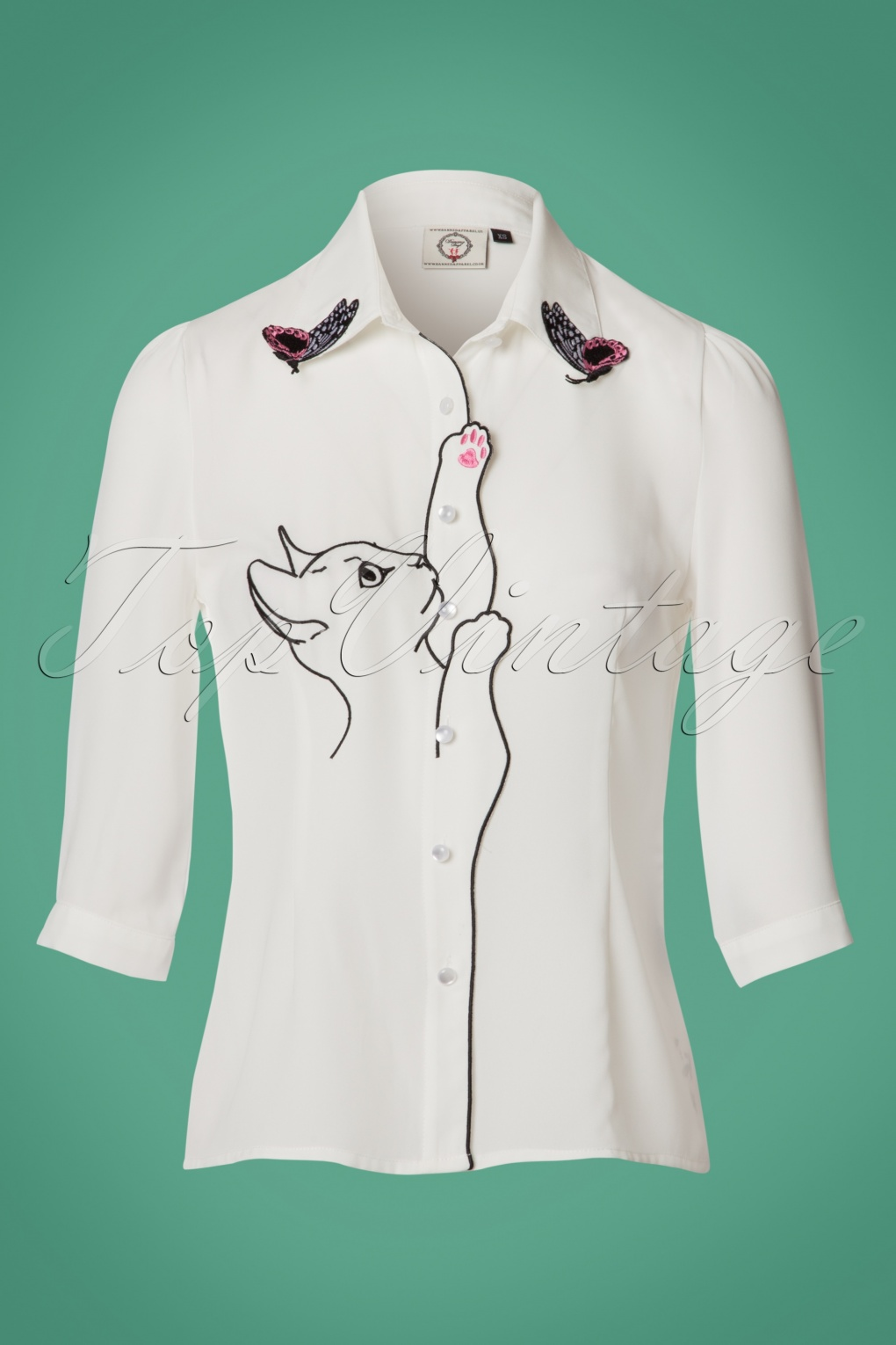 White Snow Bird Kitty Cat Butterfly Retro Vintage Blouse Shirt By Banned Apparel