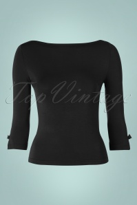 50s Modern Love Top in Black