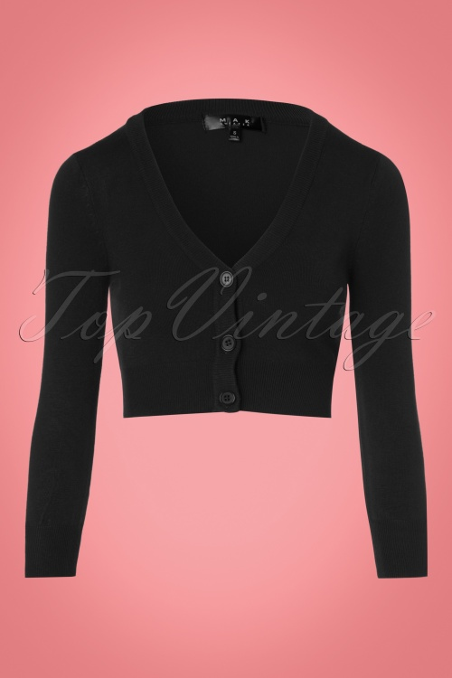 Mak Sweater V neck Cropped Cardigan in Black 140 10 23272 20171002 0002w