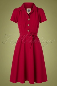 40s Pretty Shirt Dress in Dark Red