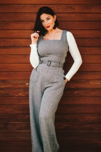 40s Gertrude Herringbone Jumpsuit in Black and White