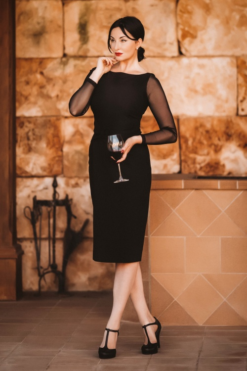 Glamour Bunny 29279 Whitney Pencil Dress in Black Canopi 11426 Long Mesh Sleeves in Black 20191203 030i
