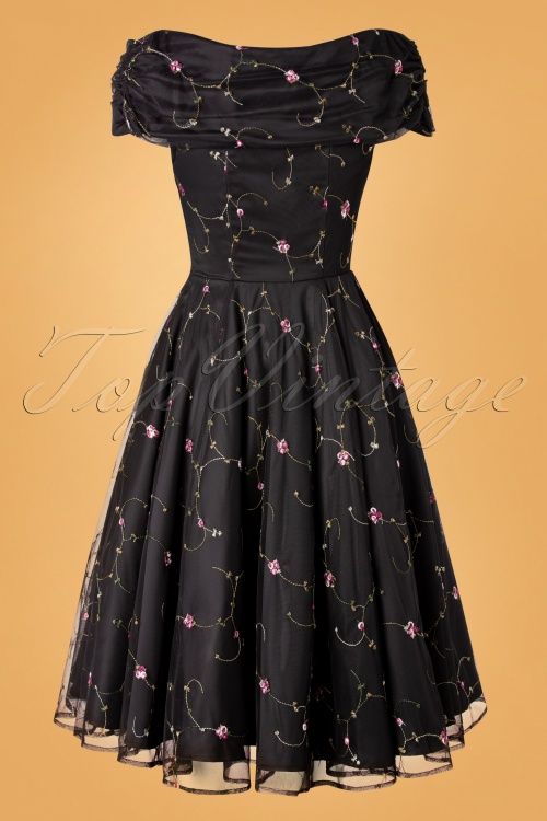 Collectif 29920 Swingdress Black Dorothy Roses 20191205 017W