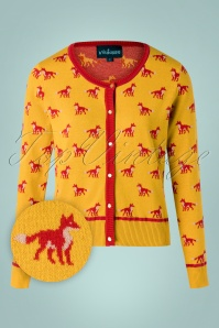 La Veintinueve 60s Sophie Foxy Forest Cardigan in Yellow
