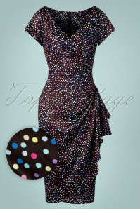 Lady V by Lady Vintage 50s Elsie Spotty Pencil Dress in Black