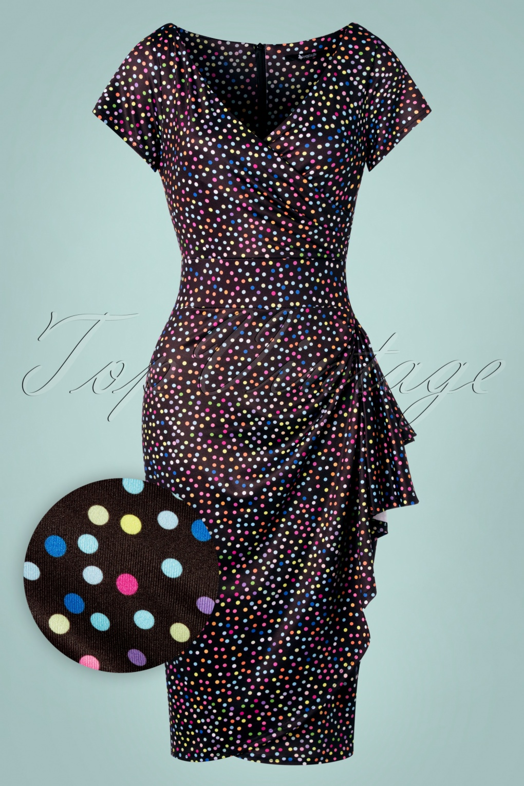 50s Dresses UK | 1950s Dresses, Shoes & Clothing Shops 50s Elsie Spotty Pencil Dress in Black £59.61 AT vintagedancer.com