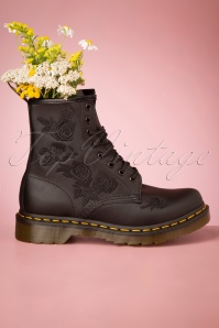 Dr. Martens 1460 Vonda Softie Floral Boots in Black