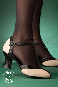 50s Lilyan T-Strap Pumps in Black and Cream