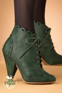 50s Eddie Lace Up Booties in Green