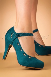 50s Yvette Suedine Mary Jane Pumps in Blue