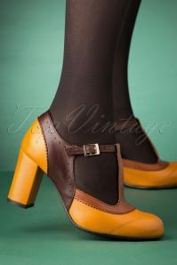 La Veintineuve 30136 Ada Mustard Brown Tstrap Patent Heels Straps 20191029 004 W