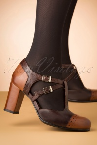 60s Elena Leather T-Strap Pumps in Brown