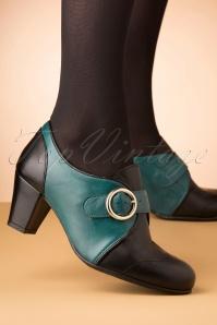 La Veintineuve 30143 Agatha Teal Black Heels 20191029 008 copyW