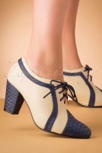 40s Amelia Shoe Booties in Navy and Ivory