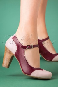 50s Jazzy Pumps in Burgundy and Light Pink