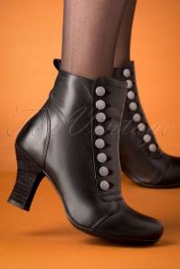 Kips Leather Ankle Booties Années 40 en Noir