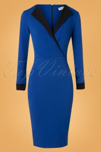 50s Clayre Pencil Dress in Royal Blue and Black