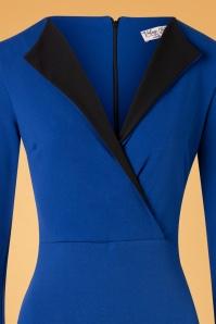 Vintage Chic 33063 Pencildress Blue Black Royal V 20191209 004V