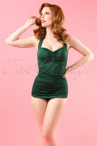 50s Classic Fifties One Piece Swimsuit in Green