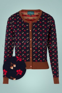 60s Holly Nuts Cardigan in Navy