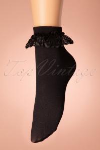 50s Cute Ruffle Lace Bobby Socks in Black