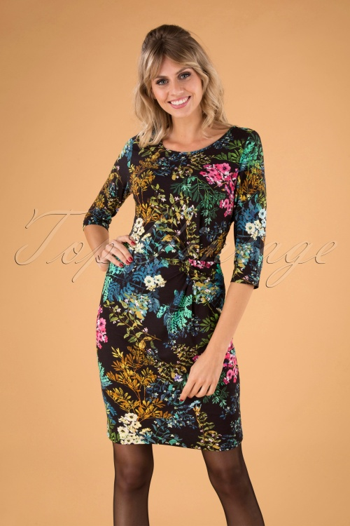 Smashed Lemon 30204 Black Multi Floral Dress 20190906 040MW