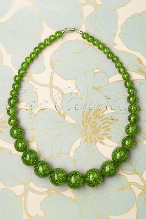 Splendette 33072 Leaf Green Necklace Glitter 191220 002