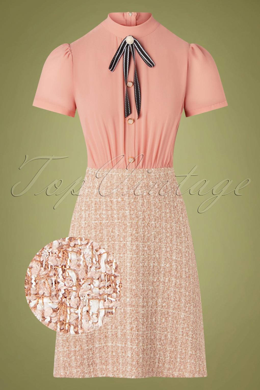 50 Vintage Inspired Clothing Brands & Stores 60s Mini Boucle A-Line Dress in Blush £68.13 AT vintagedancer.com