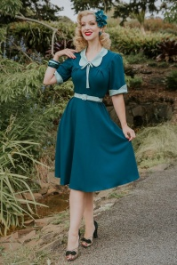 Miss Candyfloss Ella Collaboration ~ 40s Ella Kat Swing Dress in Teal and Mint