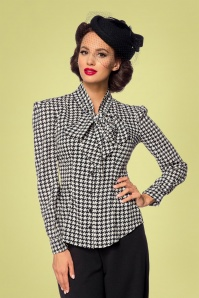 Belsira 33227 Emerson Houndstooth Blouse in Black and Ivory 20200106 020LW