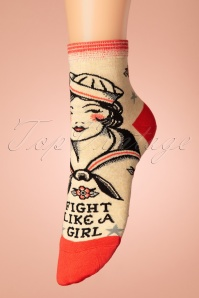 Fight Like A Girl Ankle Socks Années 50