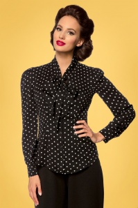 Belsira 33226 Emerson Dots Blouse in Black and Ivory 20200106 020LW