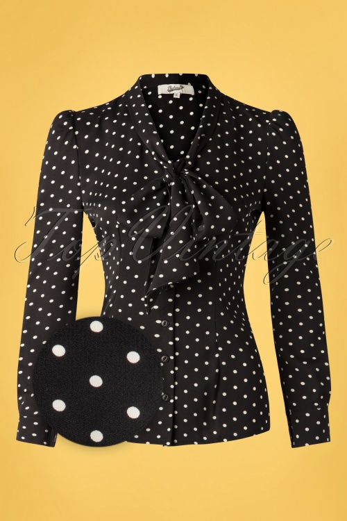 Belsira 33226 Emerson Dots Blouse in Black and Ivory 0200106 002Z