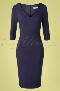 50s Stella Pencil Dress in Navy