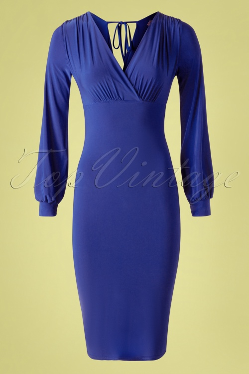 Vintage Chic 33356 Boycon Dress Royal Blue20200106 002W
