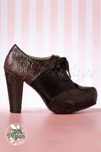 Lola Ramona Angie High Heeled Booties Années 50 en Marron