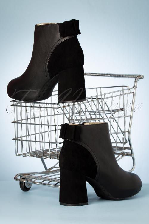 Lola Ramona Topvintage Boutique 30428 Eileen Black Heels Booties Bow 200108 020 W