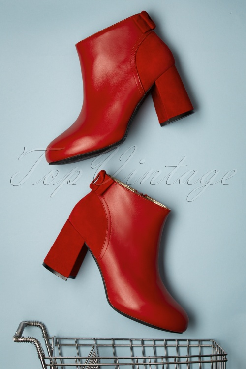 Lola Ramona Topvintage Boutique 30429 Eileen Red Heels Booties Bow 200108 032 W