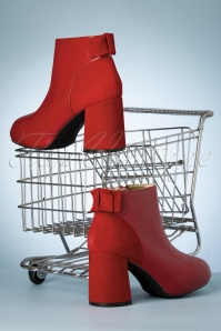 Lola Ramona Topvintage Boutique 30429 Eileen Red Heels Booties Bow 200108 016 W