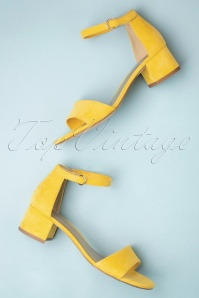 60s Suedine Sandals in Yellow