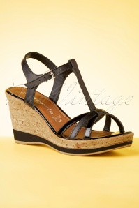 Tamaris 60s Wendy Wedges in Black