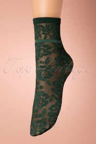 50s Flower Socks in Green