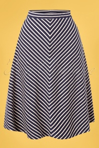 60s Juno Jersey Breton Stripe Skirt in Blue