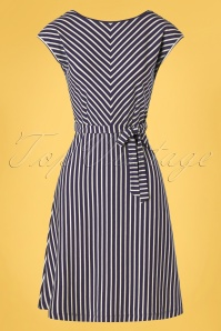 King Louie Grace Breton Stripe Dress Années 60 en Bleu