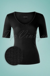 60s Carice Tencel Rib V Top in Black