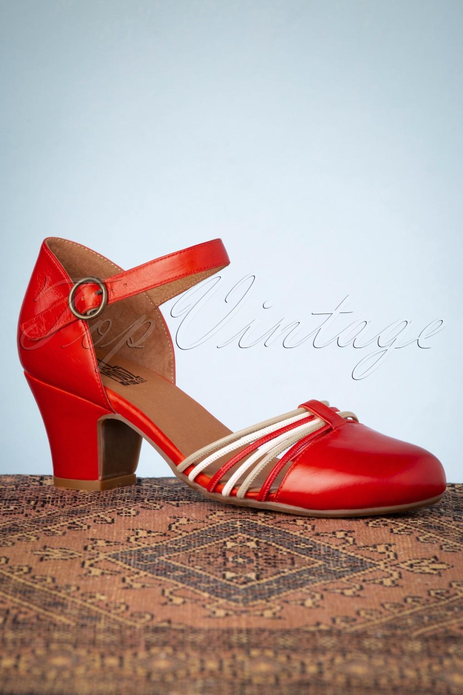 60s Shoes, Boots 60s Fedora Leather Pumps in Scarlet Red £62.87 AT vintagedancer.com