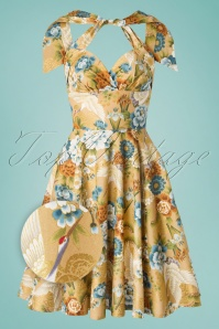 TopVintage exclusive ~ 50s Sissy Kio Swing Dress in Gold