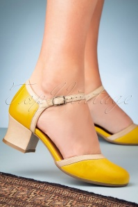 Miz Mooz 60s Fleet Leather Pumps in Yellow and Beige