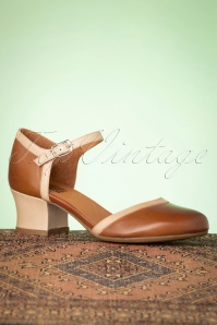 Miz Mooz 60s Fleet Leather Pumps in Brandy and Beige